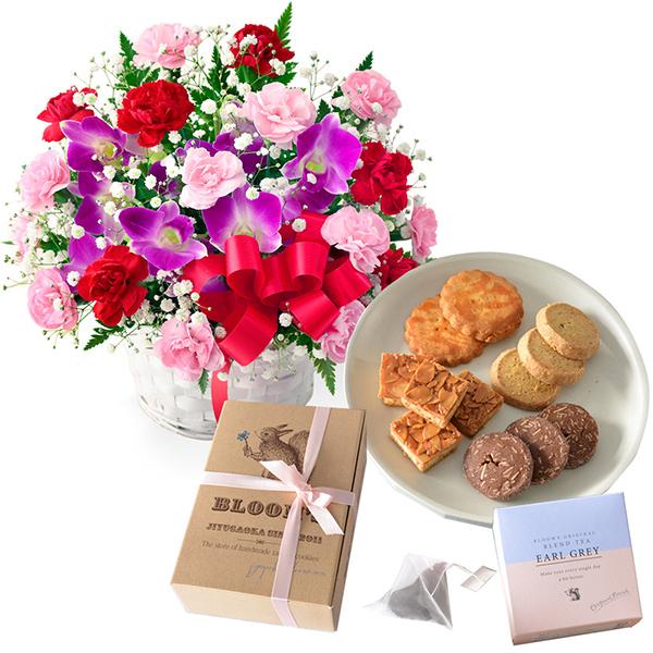 カーネーションと赤リボンのバスケットと【BLOOM'S】紅茶&焼き果子セット h03613241 |母の日プレゼント特集2019・5月12日