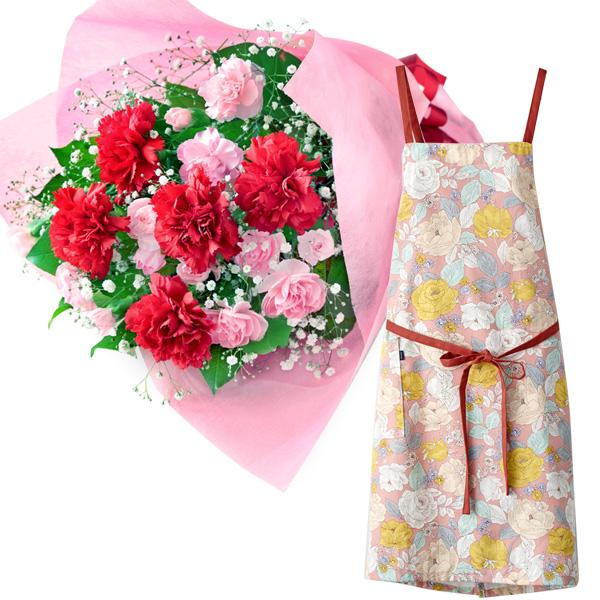 【母の日】カーネーションの花束とラップエプロン(花柄・ピンク) i08521269 |花キューピットの2019母の日プレゼント特集