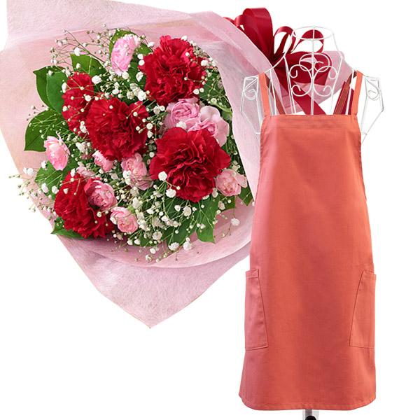 カーネーションの花束と母の日ギフト エプロン(巾着付き) i10521269 |花キューピットの2021母の日セット
