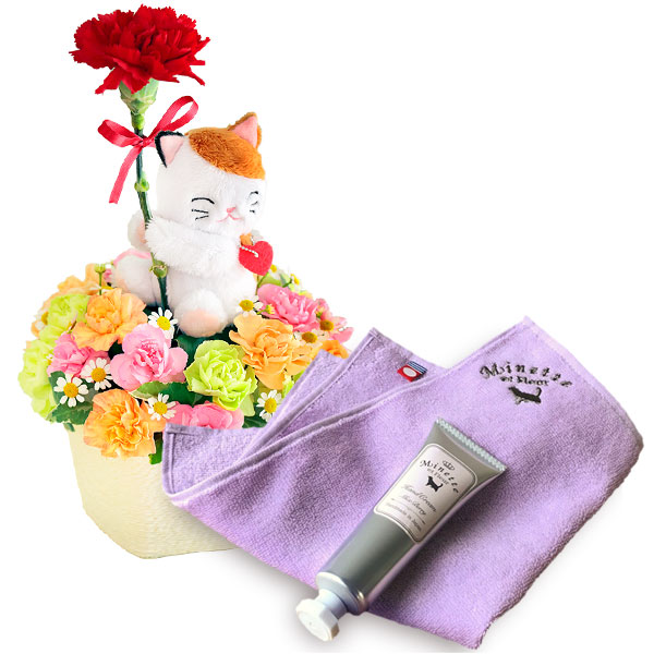 三毛猫のアレンジメントと【Minette et Fleur】ハンドクリーム&ハンカチセット l02521256 |母の日プレゼント特集2019・5月12日