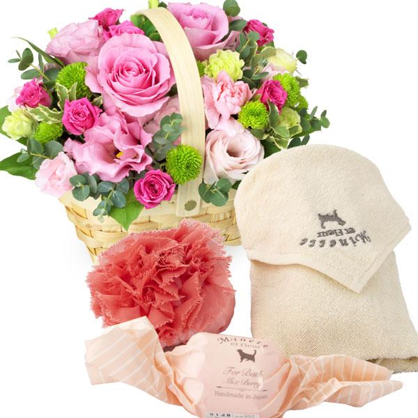 ピンクバラのウッドバスケットアレンジメントと[Minette et Fleur] オリジナルギフトセット l04511726 |花キューピットの2020ホワイトデーセット