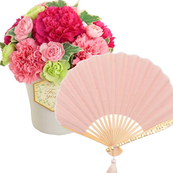 グラマラス(ピンク)と【西川庄六商店】minamo扇子 ns02521253 |花キューピットの2021母の日セット