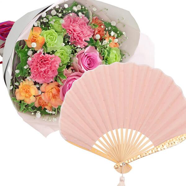 ティーブーケと【西川庄六商店】minamo扇子 ns02521295 |花キューピットの2021母の日セット