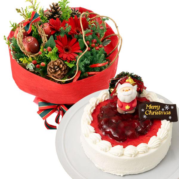 赤のブーケと生クリームデコレーションケーキ oa69114010  花キューピットの2019クリスマスセットギフト特集