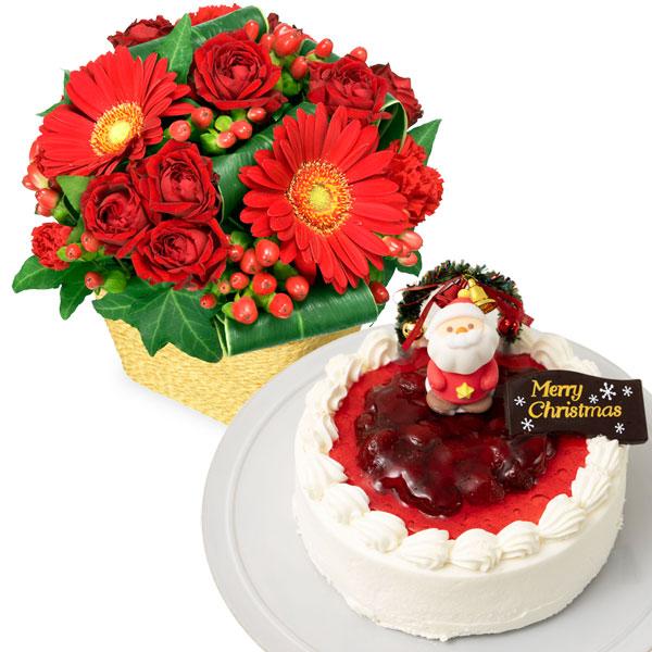 赤ガーベラと赤バラのアレンジメントと生クリームデコレーションケーキ  oa69511507  花キューピットの2019クリスマスセットギフト特集