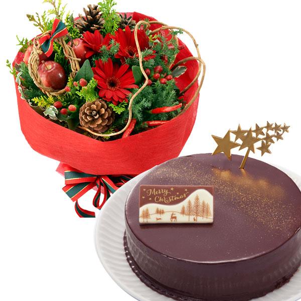 赤のブーケと聖夜のザッハトルテoa70114010  花キューピットの2019クリスマスセットギフト特集