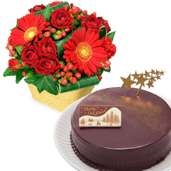 赤ガーベラと赤バラのアレンジメントと聖夜のザッハトルテ oa70511507 |花キューピットのクリスマスプレゼント特集2019