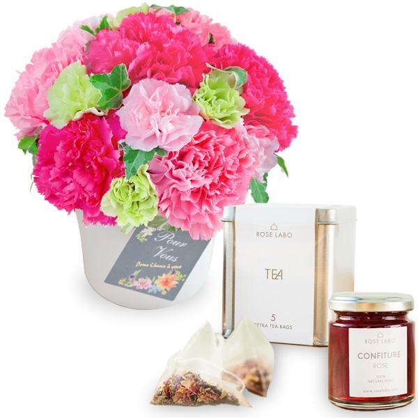 【母の日 スイーツ&グルメセット】グラマラス(ピンク)と【ROSE LABO】ロシアンティーギフト