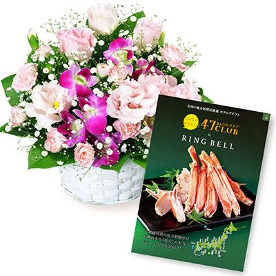 【夏の花贈り特集】トルコキキョウとデンファレのアレンジメントとグルメカタログ3500円コース srh511587 |花キューピットの夏の花贈り特集2020