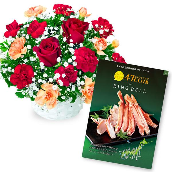 【グルメカタログ3500円】赤バラのアレンジメントと グルメカタログ3500円コース