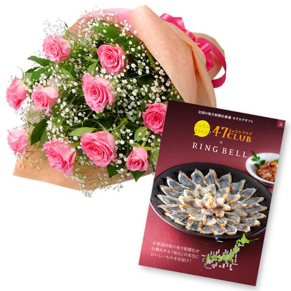 【グルメカタログ5000円】ピンクバラの花束とグルメカタログ5000円コース