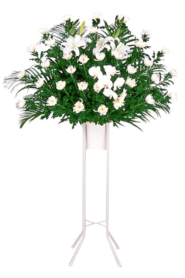 【スタンド花・花輪(葬儀・葬式の供花)(法人)】お供え用スタンド1段(白あがり)