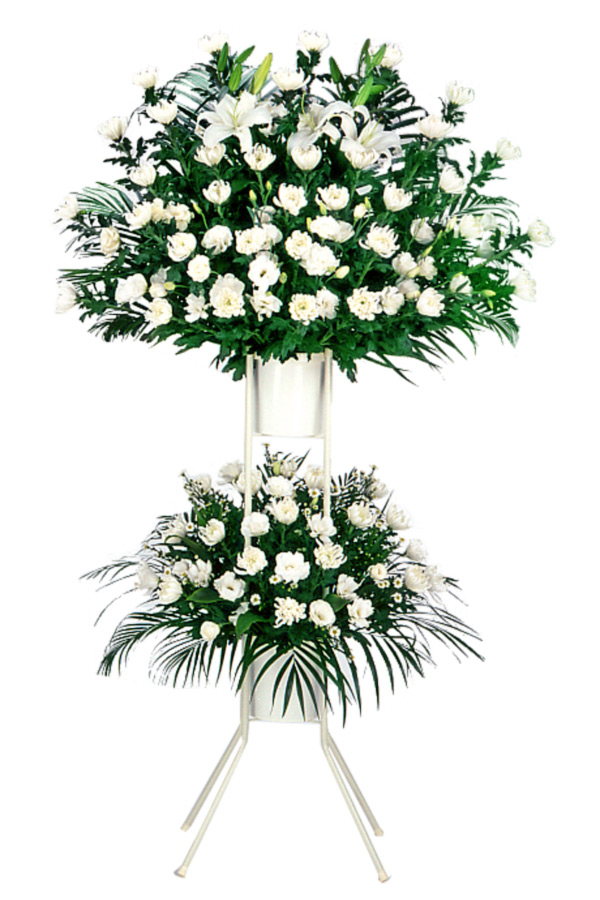【スタンド花・花輪(葬儀・葬式の供花)】お供え用スタンド2段(白あがり)
