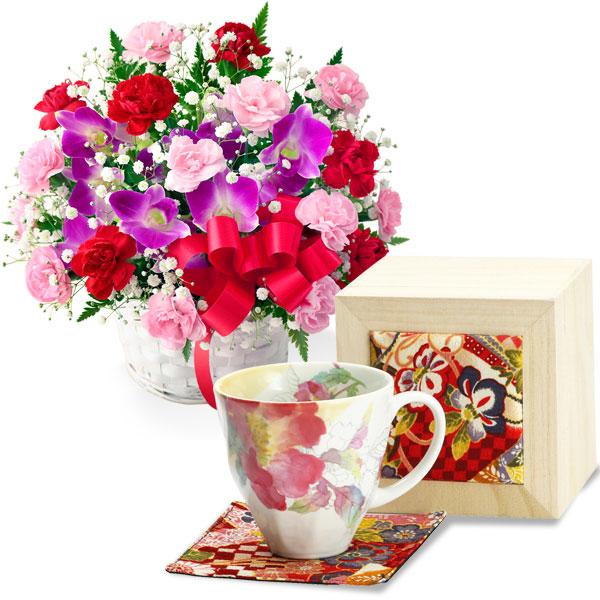 カーネーションと赤リボンのバスケットと花みさき マグカップ 芍薬 t47613241 |母の日特集2019・5月12日
