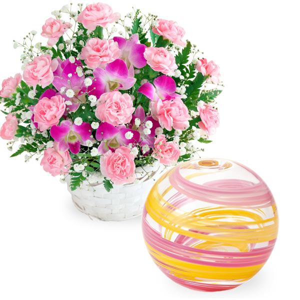 【母の日】スイートと【津軽びいどろ】一輪挿し(桜風) t57521252 |花キューピットの2019母の日プレゼント特集