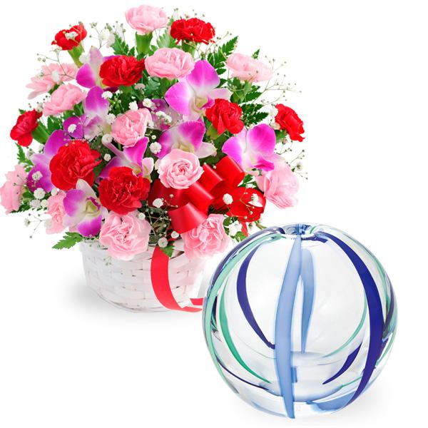 【母の日 ありがとうギフトセット】カーネーションと赤リボンのバスケットと【津軽びいどろ】一輪挿し(夏空)