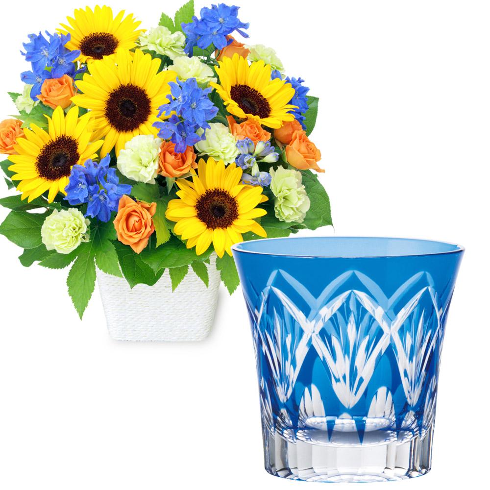 お父さんありがとうアレンジメントと切子グラス(青) t59512213 |花キューピットの2020父の日セット
