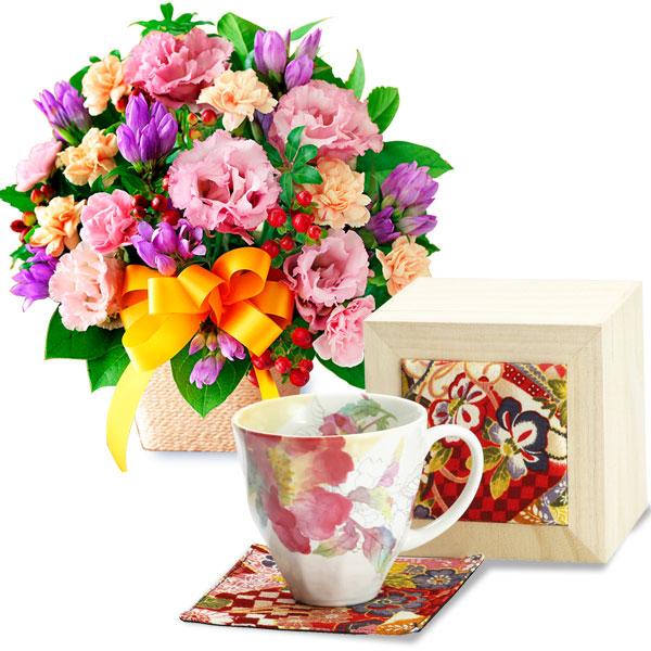 オレンジリボンのアレンジメントとちりめん木箱入り 花みさきマグカップ(シャクヤク) t61522082 |花キューピットの2019敬老の日プレゼント特集