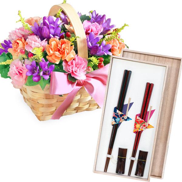 リンドウのウッドバスケットと六角箸 夫婦箸セット (桐箱入) t62522088 |花キューピットの2019敬老の日プレゼント特集