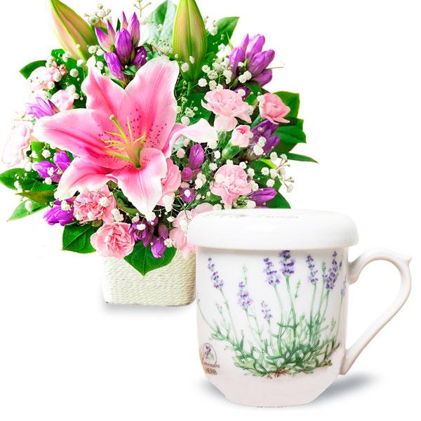 ピンクユリのバスケットとセレックティーメイト 蓋・茶こし付マグカップ t63522081 |花キューピットの2019敬老の日セットギフト特集