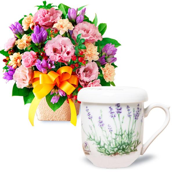 オレンジリボンのアレンジメントとセレックティーメイト 蓋・茶こし付マグカップ t63522082 |花キューピットの2019敬老の日プレゼント特集