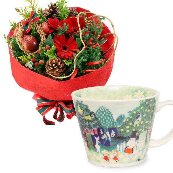 赤のブーケとムーミン スープマグt64114010 |花キューピットの2019クリスマスセットギフト特集