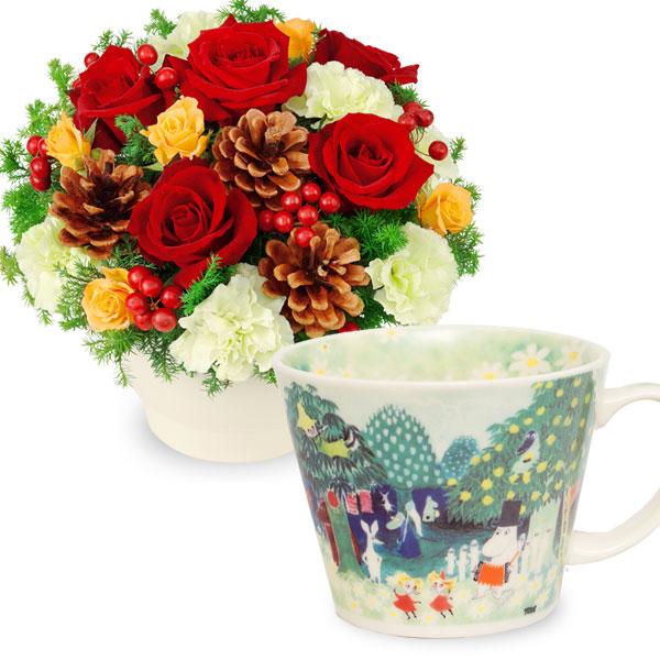 赤バラのウィンターアレンジメントとムーミン スープマグ t64511087 |花キューピットのクリスマスプレゼント特集2019