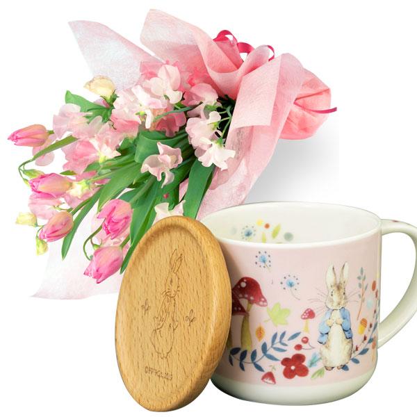 チューリップの花束とピーターラビット マグカップ t65111014 |花キューピットの2020ホワイトデーセット