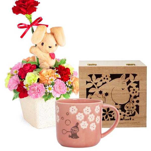 【母の日 ありがとうギフトセット】ラブリーうさぎのアレンジメントとムーミン木箱入りマグ