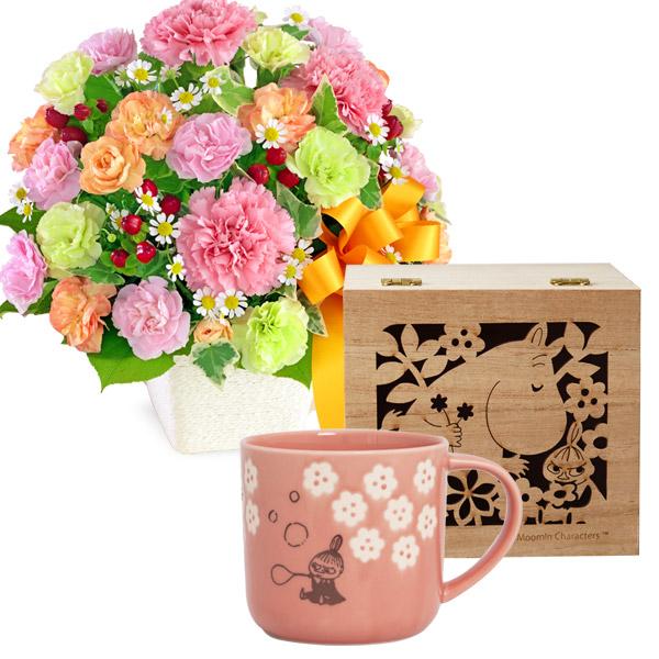 【母の日 ありがとうギフトセット】カーネーションのミックスアレンジメントとムーミン木箱入りマグ