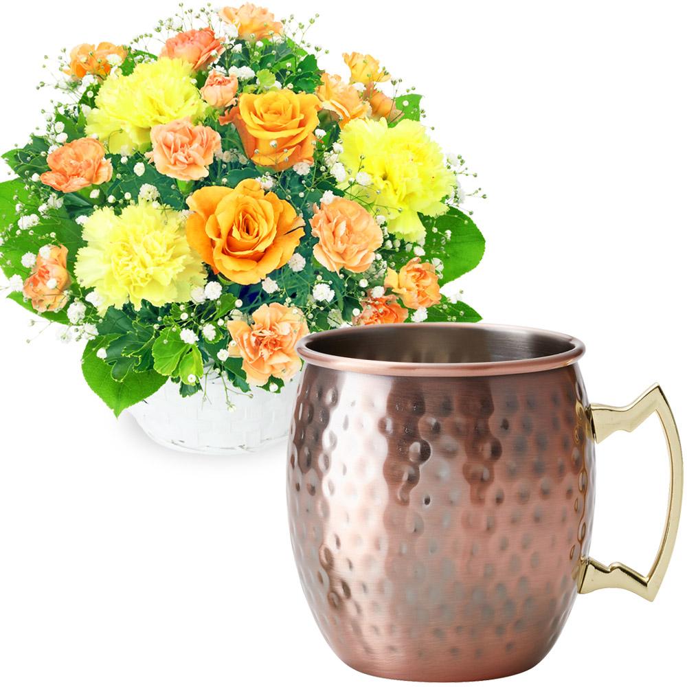 オレンジバラのアレンジメントとカフェオレマグ t68511999 |花キューピットの父の日 お花とセットの特集2020