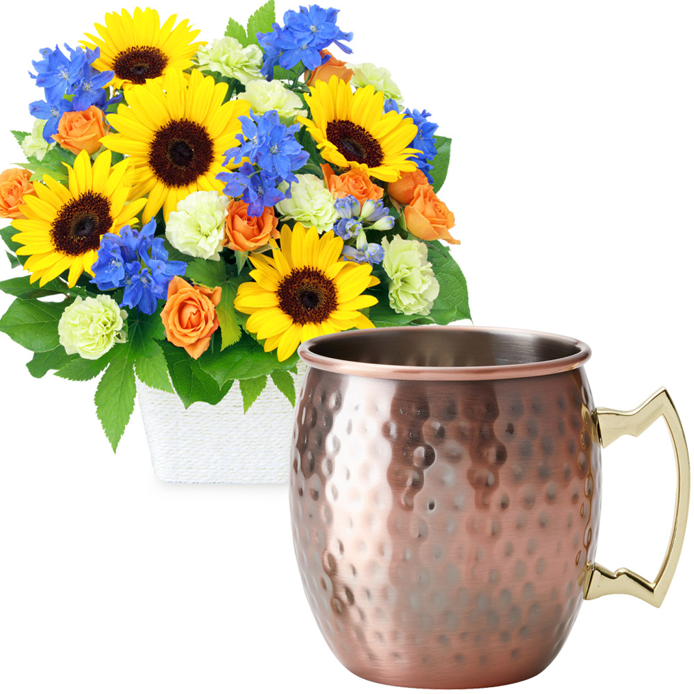 お父さんありがとうアレンジメントとカフェオレマグ t68512213 |花キューピットの2020父の日セット