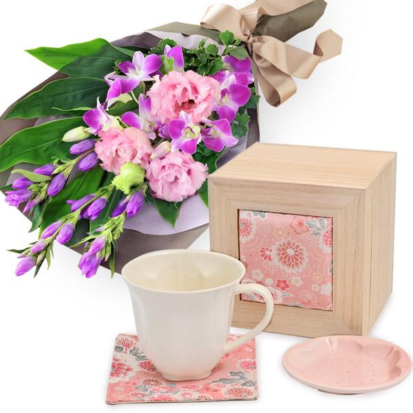 リンドウの花束と華うつし マグカップセット t69512255 |花キューピットの2020敬老の日セット