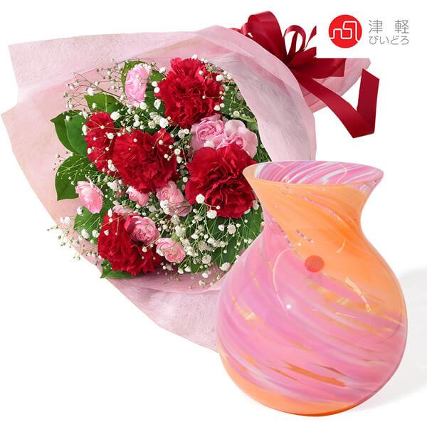 カーネーションの花束と津軽びいどろ ブーケポット t70521269 |花キューピットの2021母の日セット