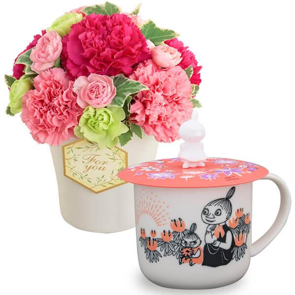 グラマラス(ピンク)とムーミン カップカバー付きマグ(リトルミイ) t71521253 |花キューピットの2021母の日セット