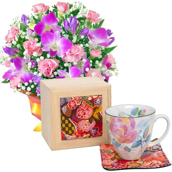 【敬老の日】ピンクデンファレのアレンジメントと花ことばマグカップ バラ(ちりめん木箱)