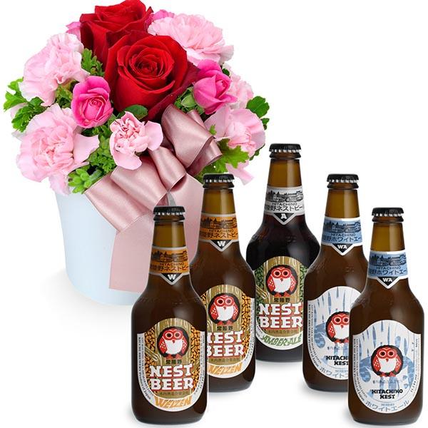 【お祝いセットギフト】赤バラのナチュラルアレンジメントと常陸野ネストビール飲み比べ5本セット