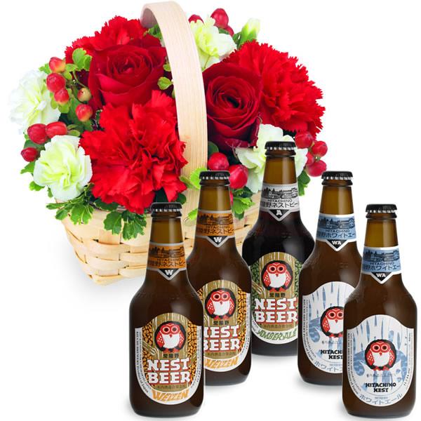 【お祝いセットギフト】赤色のウッドバスケットと常陸野ネストビール飲み比べ5本セット