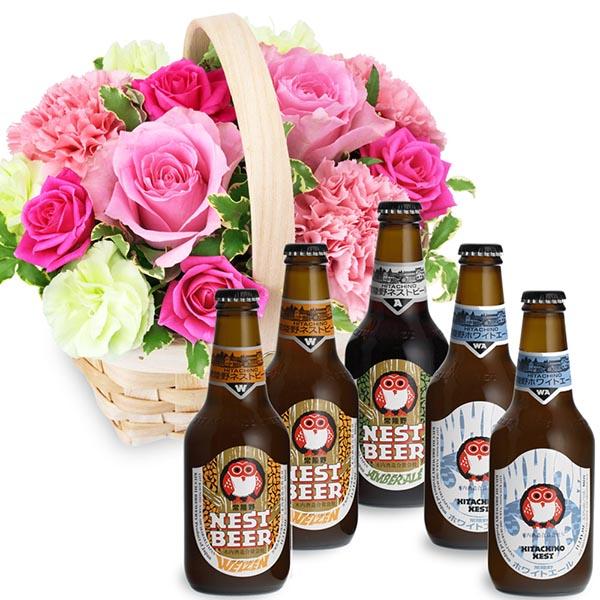 【お祝いセットギフト】ピンクのウッドバスケットと常陸野ネストビール飲み比べ5本セット