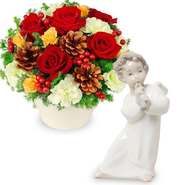 赤バラのウィンターアレンジメントと【リヤドロ】可愛いフルートv07511087 |花キューピットの2019クリスマスセットギフト特集