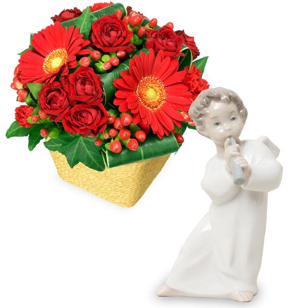 赤ガーベラと赤バラのアレンジメントと【リヤドロ】可愛いフルート v07511507 |花キューピットのクリスマスプレゼント特集2019