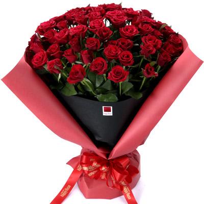 【還暦・ハッピーローズ(法人)】ハッピーローズ・セレクション 60本の赤バラの花束