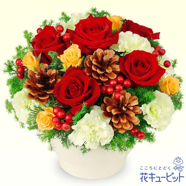 【クリスマスフラワー ランキング】赤バラのウィンターアレンジメント微笑みたくなるようなかわいらしいクリスマスアレンジメント