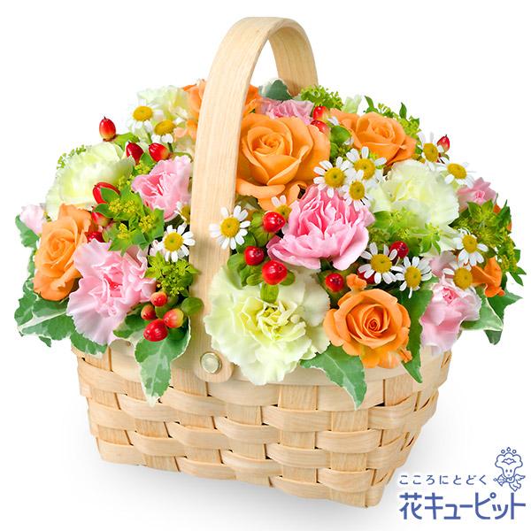 【お祝い】オレンジバラのウッドバスケット大人気のウッドバスケットアレンジメント!