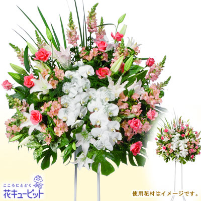【スタンド花・花輪(開店祝い・開業祝い)(法人)】スタンド花お祝い1段(ピンク系)