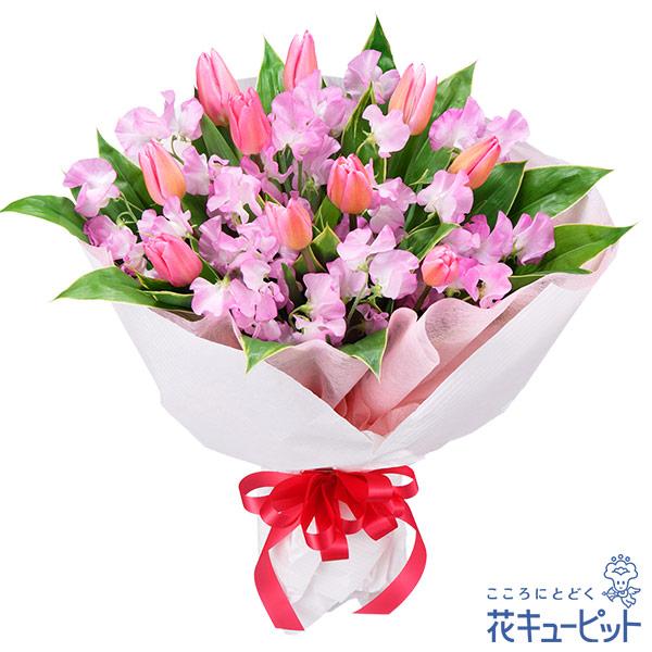 【お祝い】チューリップとスイートピーの花束ボリューム満点♪華やかなチューリップの花束
