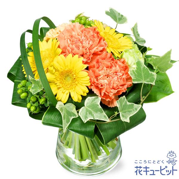 【11月の誕生花(ガーベラ等)(法人)】ガーベラとカーネーションのグラスブーケ