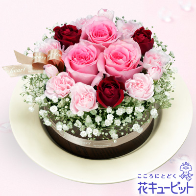 【お祝い】ピンクバラのフラワーケーキピンクバラのフラワーケーキ!