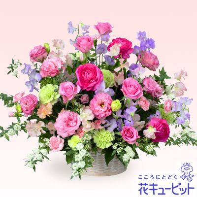 【お祝い】バラとスイートピーのアレンジメント(ピンク)幅約60cm!ふわふわのスイートピーがキュート★