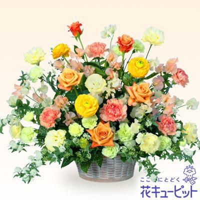 【お祝い】バラとスイートピーのアレンジメント(イエロー)ボリューム満点!見劣りしない春色アレンジメント